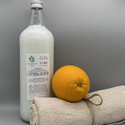 Waschmittel vegan 1 Liter Orange Rückseite